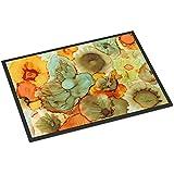 """Caroline's Treasures Abstract Flowers Teal and Orange Indoor or Outdoor Mat 24x36 8969JMAT, 8969JMAT, Multicolor, 24"""" H x 36"""" W"""