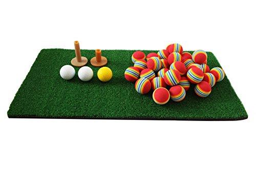 【SCGEHA】ゴルフ 練習用 分厚い ショット用マット 60cm×30cm 厚み 1cm 人工芝 カラーウレタンボール クッションボール ティー2種付き(ショット用マット・ウレタンボール セット)