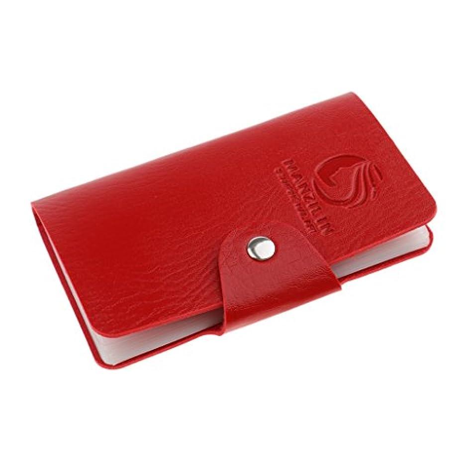 くるくるスコアお別れオーガナイザーケース バッグ プレートスタンパーバッグ 24スロット ネイルアート ホルダー 収納 5色選べ - 赤, 説明したように