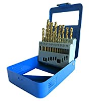 S&Rメタルドリルビットセット1-10mm、19個、HSSチタンDIN 338、ポリッシュ仕上げ、亜硝酸チタンコーティング、スチールボックス。プロフェッショナル品質。