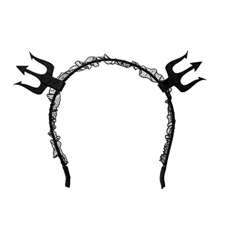 ハロウィン 悪魔カチューシャ コスプレ仮装 パーティー用 レース付 コスチューム 舞踏会 髪 飾り(ブラック)