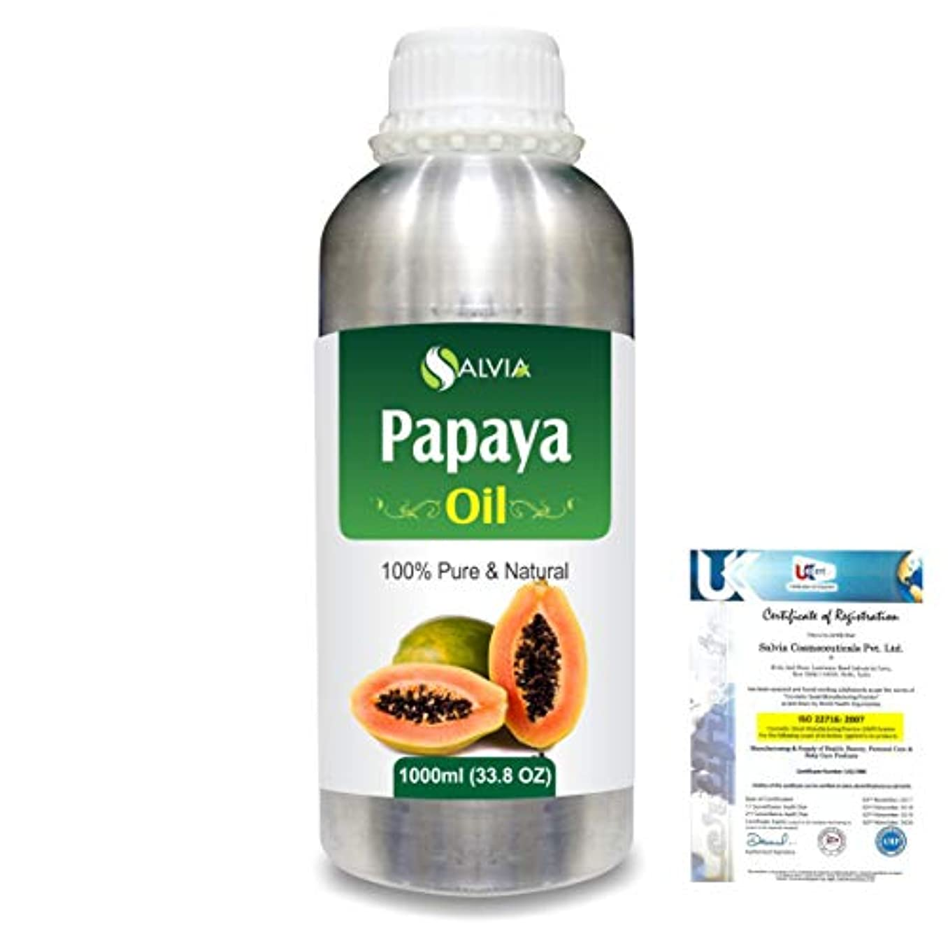 落胆させる媒染剤打撃Papaya (Carica papaya) Natural Pure Undiluted Uncut Carrier Oil 1000ml/33.8 fl.oz.