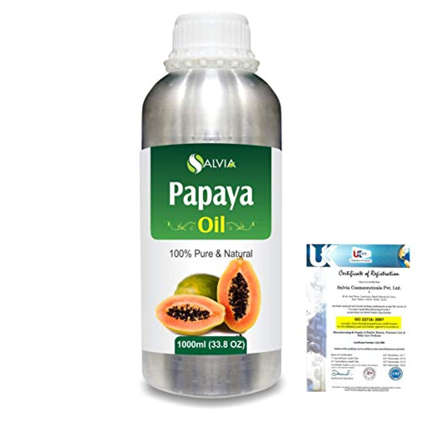 郵便ドメイン時間厳守Papaya (Carica papaya) Natural Pure Undiluted Uncut Carrier Oil 1000ml/33.8 fl.oz.