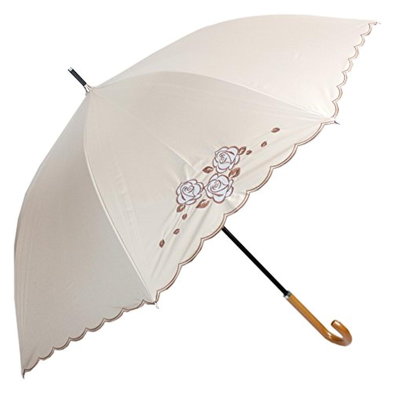 [一級遮光] 2駒オーガンジーはめ込みスカラ刺繍 55cm 晴雨兼用パラソル