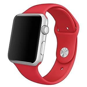 【andyam】Apple Watch iWatch対応 38mm/42mm汎用 シリコン製 交換バンド 交換ベルト 腕時計バンド 留め金付きタイプ 調整可能 アップルウォッチベルト 気分転換 全16色
