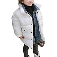 Macondoo Boys Girls Denim Children Packable Two Classic Quilted Puffer Parka Jacket