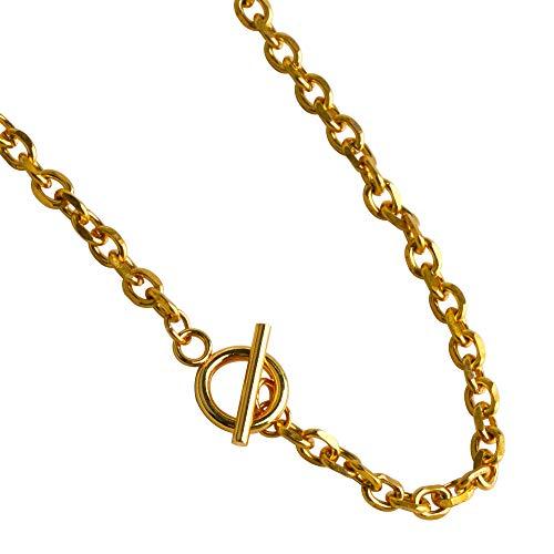 [silver KYASYA]ステンレス マンテル あずき チェーン ネックレス 小豆 シルバー silver 銀色 ゴールド gold 金色 2カラー 40cm 45cm 50cm (ゴールド, 45)