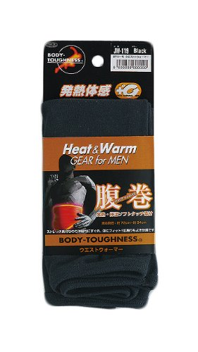 おたふく手袋 ボディータフネス 発熱・保温 テックサーモ ウエストウォーマー 腹巻 ブラック JW-119