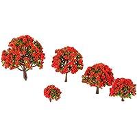 10個入り モデルツリー 樹木 木 赤い花の木 鉢植え用 鉄道模型 風景 モデル トレス 情景コレクション ジオラマ 建築模型 電車模型 HO N Zスケール