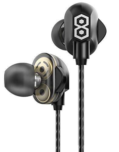 イヤホン デュアルドライバー構造 高音質 重低音 有線 カナル型 マイク付き 遮音 ステレオイヤフォン 抜群のフィット感 iPhone/Android/PC多機種対応