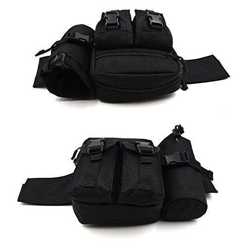 ArcEnCiel 多機能ウエストパック 水筒ポーチ付き ウエストバッグ (ブラック)