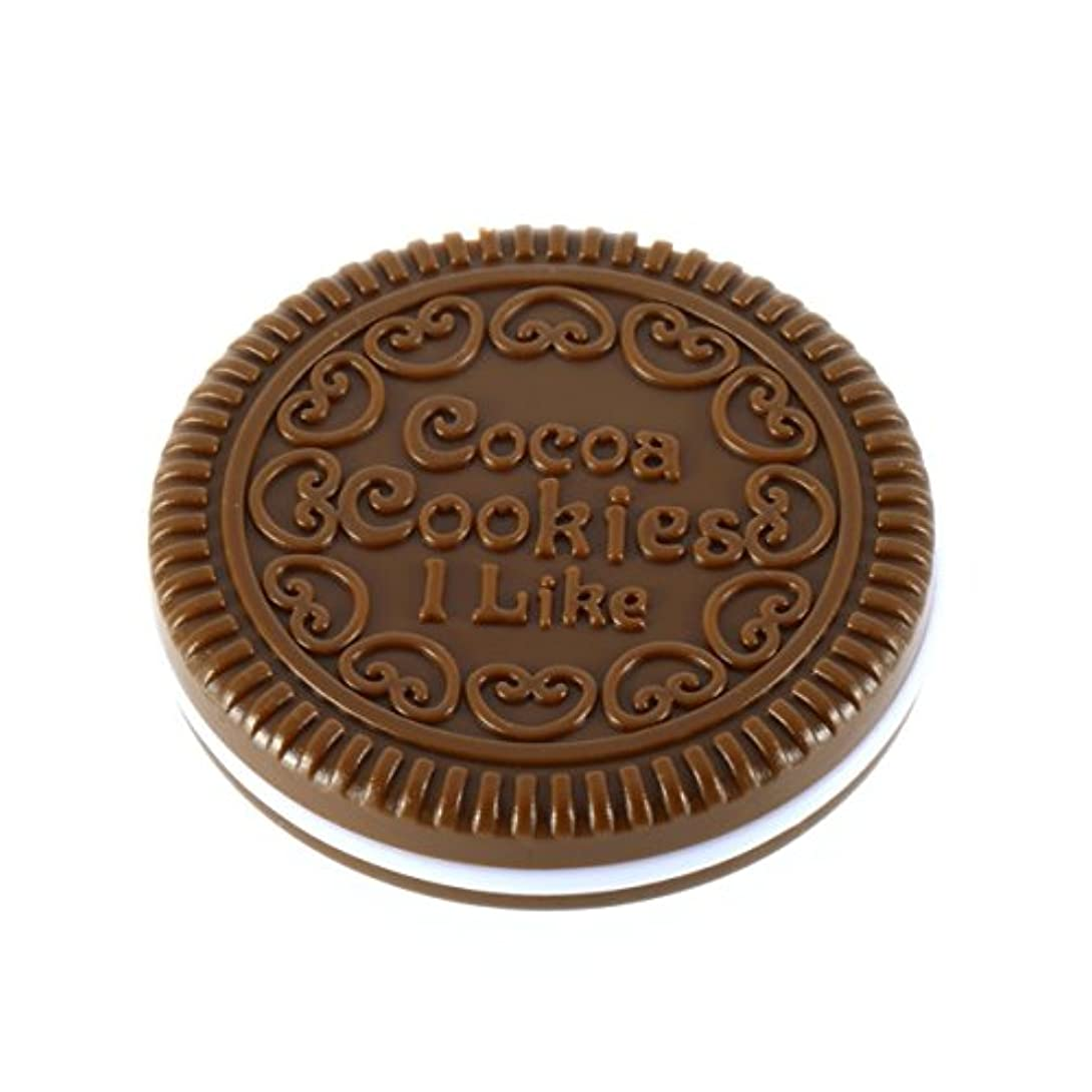 半球巻き取り嵐のポータブルミニかわいいカワイイレディースガールズミラーファッショナブルなチョコレートクッキー型デザイン化粧品ミラーメイクチョコレートコーム-ライトコーヒー
