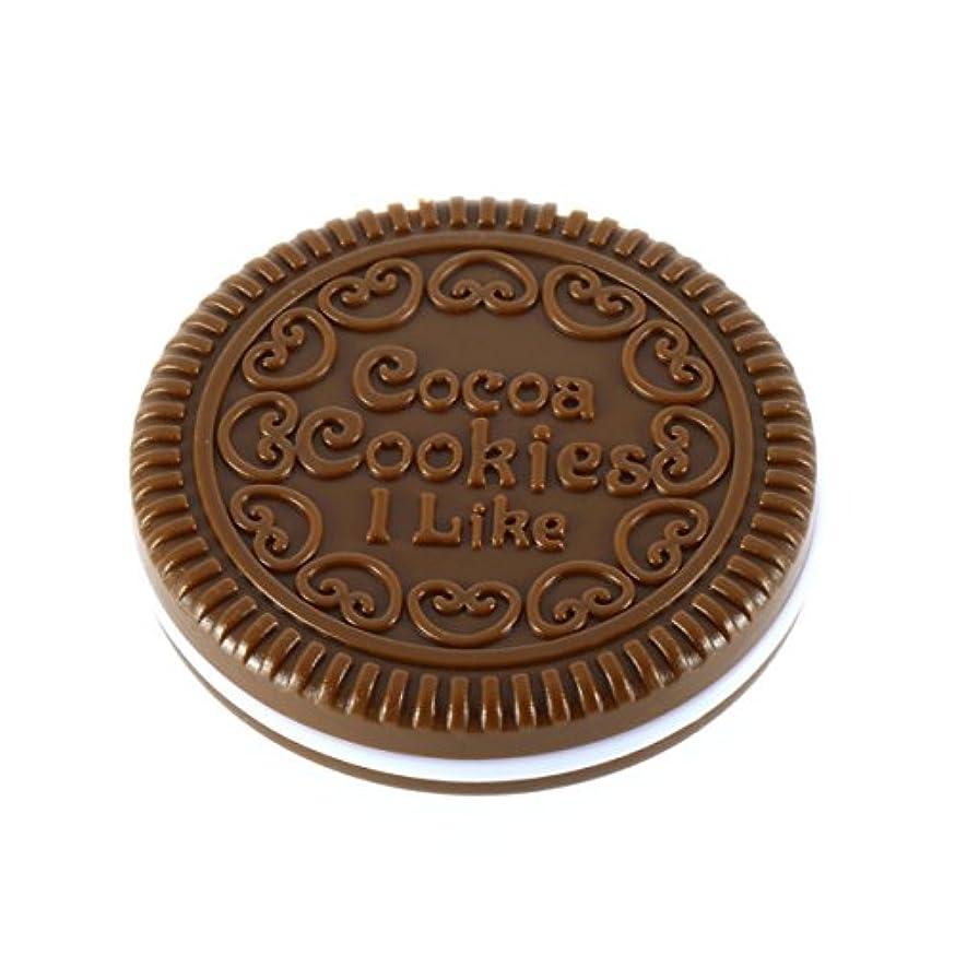シンプトン病弱迫害ポータブルミニかわいいカワイイレディースガールズミラーファッショナブルなチョコレートクッキー型デザイン化粧品ミラーメイクチョコレートコーム-ライトコーヒー