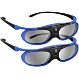 BOBLOV Active Shutter 3D Glasses DLP-Link USB Rechargeable 144Hz for All 3D DLP Projectors Compatible with BenQ W1070 W700 De