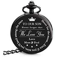 to My Son | Dad Mom Son Gift - Engraved to My Son Love Mom & Dad Pocket Watch - Perfect Gifts for Son from Mother & Father for Christmas, Valentines Day, Birthday