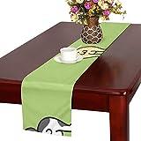 GGSXD テーブルランナー 幼い グリーン猫 クロス 食卓カバー 麻綿製 欧米 おしゃれ 16 Inch X 72 Inch (40cm X 182cm) キッチン ダイニング ホーム デコレーション モダン リビング 洗える