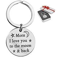 PINGF 母の日ギフトステンレススチールキーホルダー「お母さん、月と背中に愛してる」w/Luxury Gift Box
