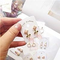 COSLOLI かわいい飾り ロリータピアス 少女 韓国手作りハートボウノット幾何新鮮な真珠かわいい女性ブラブラドロップピアスファッションジュエリー Accessories-JQD5