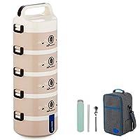 保温弁当箱 ランチボックス 保温食箱桶 ランチジャー 食事箱 お弁当袋付き 食器付き 学校 ピクニックキャンプ (Color : Beige, Size : 5 layer)