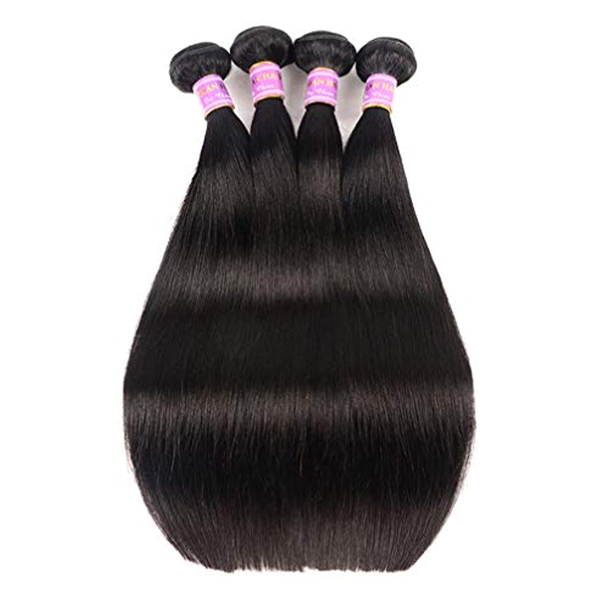 ドリル記念品陰気9Aブラジルのストレートヘア3バンドル安いブラジルのヘアバンドルストレート人間の髪の束ナチュラルブラックカラー300グラム