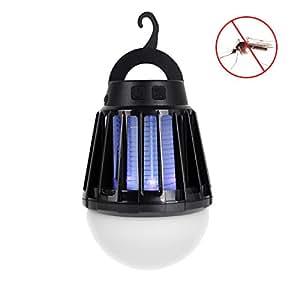 電撃殺虫器 UV紫光誘引式 静で安心 蚊取りと照明両用 2000mAH容量 USB充電可能 IPX6防水機能 (黒)