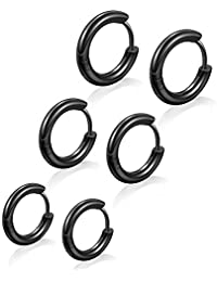 NUITS DE JUIN Stainless Steel Huggy Hoop Earrings - Hinged Hoop Huggie Piercing Earrings Set for Men Women,Hypoallergenic Helix Lobes Small Round Earrings (Black(Inner Diameter 8mm/10mm/12mm)