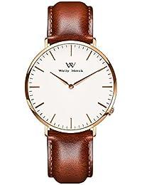 Welly Merck レディース 時計 スイスブランド サファイアガラス スイスクォーツ 36MMホワイト文字盤 18MM 交換可能 レザーストラップ 日常生活防水
