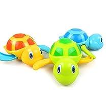 3本セット お風呂 おもちゃ カメ ゼンマイ 動物 かわいい おもちゃ シャワー 泳ぐ 水遊び 子供 プレゼント グリーン ブルー オレンジ by amzmonnsuta