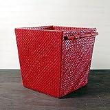 アジアン・バリ雑貨・バリウッド・baliwood:パンダンのなんでもボックスSサイズRED!くず入れでもOKですよ。
