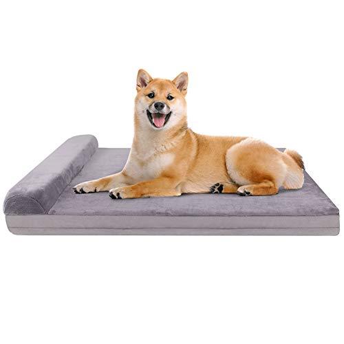 JoicyCo 犬 ベッド クッション性が抜群 足腰の弱いペットに最適 枕付き 取り外せるカバー 洗える 滑り止め 中型犬 グレー M(80*60*5cm)