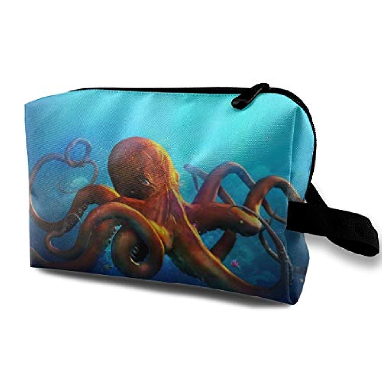 言語学想起かび臭いFunny Octopus 収納ポーチ 化粧ポーチ 大容量 軽量 耐久性 ハンドル付持ち運び便利。入れ 自宅?出張?旅行?アウトドア撮影などに対応。メンズ レディース トラベルグッズ