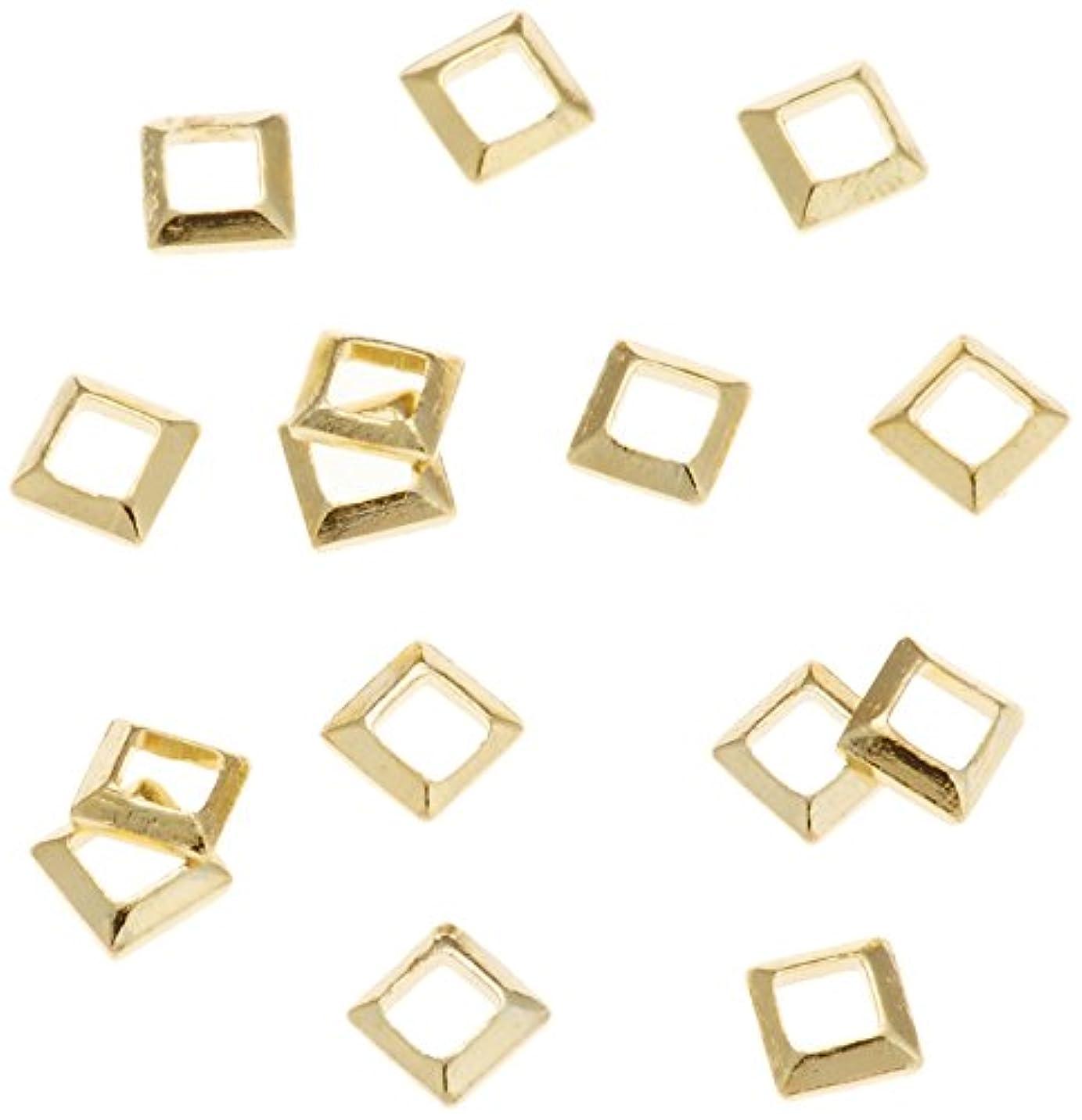 絞る一元化する住むリトルプリティー ネイルアートパーツ スクエア スカシ ゴールド 50個