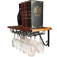 クリエイティブワインラックスタンドウッドウォールマウントワイングラスラックヴィンテージシャンパンボトルストレージシェルフメタルアイアンゴブレットホルダーウォールデコレ (サイズ さいず : 100*25cm)