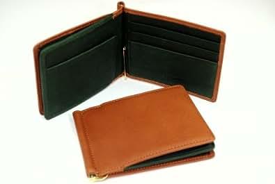 フルタンニンヌメ革×オイルシュリンク革 BOX型コインケース付マネークリップ(札ばさみ) (オレンジブラウン×グリーン)