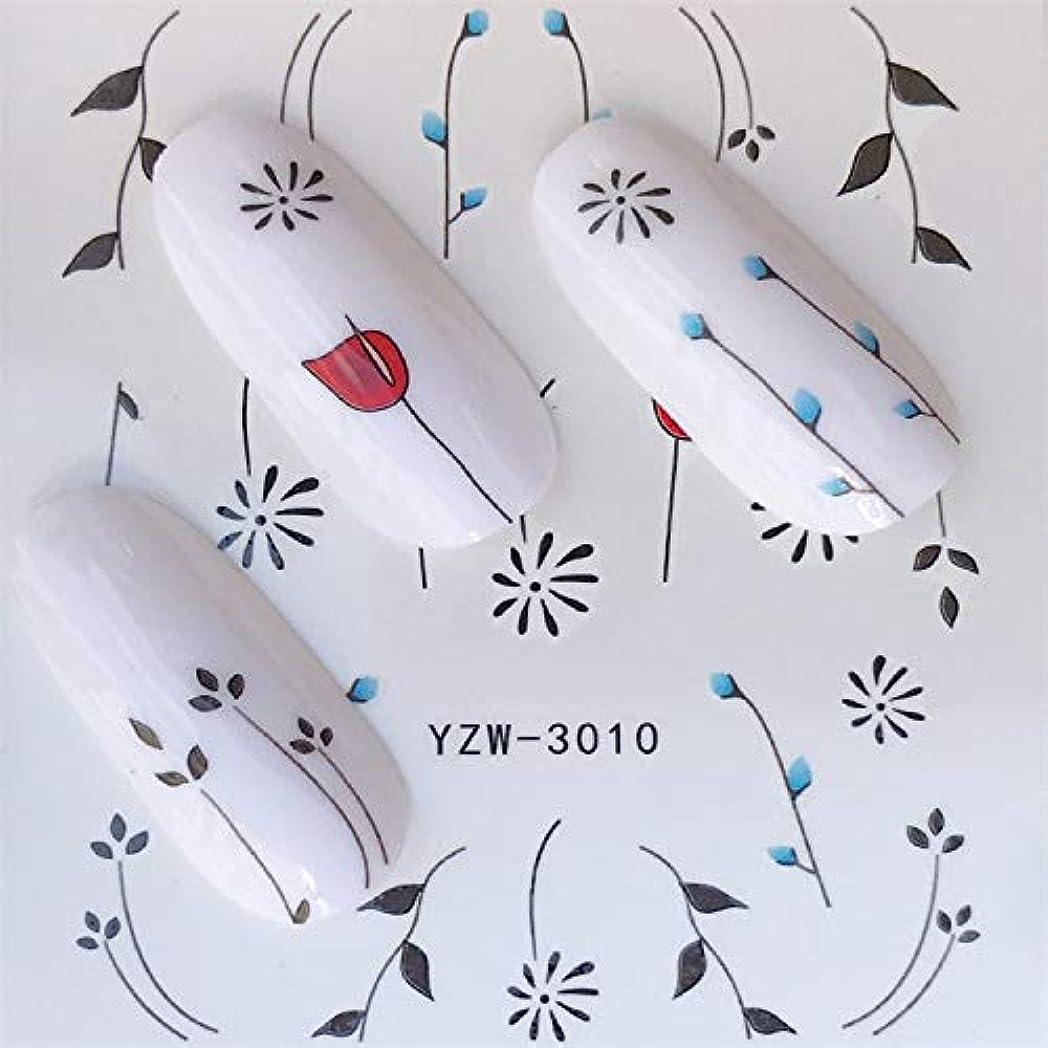 コジオスコ先見の明参照CELINEZL CELINEZL 3ピースネイルステッカーセットデカールウォータースライダースライダーネイルアートデコレーション(YZW3002) (色 : YZW3010)