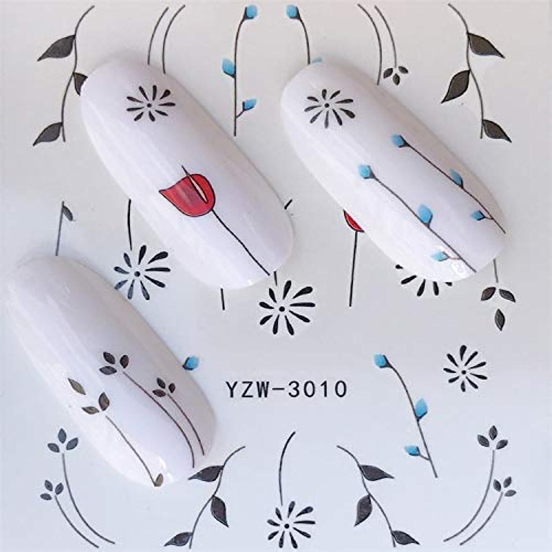 オール予見する用心するCELINEZL CELINEZL 3ピースネイルステッカーセットデカールウォータースライダースライダーネイルアートデコレーション(YZW3002) (色 : YZW3010)