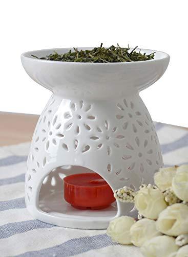 Hwagui 癒しの 茶 香炉 陶磁 中空の彫刻工芸 癒し ほうじ茶 置物 直径9.8cm 白