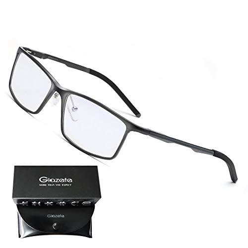 Glazata 高性能AL-MG合金 青色光カットメガネ [度なしレンズ、 視力保護 ] UV保護 パソコンメガネ ブルーライトカットメガネ 軽量型 クリップ式 男女兼用 スリムスクェア (グレー)