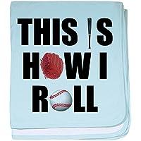 CafePress – This is How I Roll野球 – スーパーソフトベビー毛布、新生児おくるみ ブルー 048587673325CD2