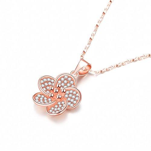 PLEMO ネックレス ペンダント 100%925純銀製 ピンクゴール レディース プレゼント ジュエリー アクセサリー 淡いピンク桜 JN-01
