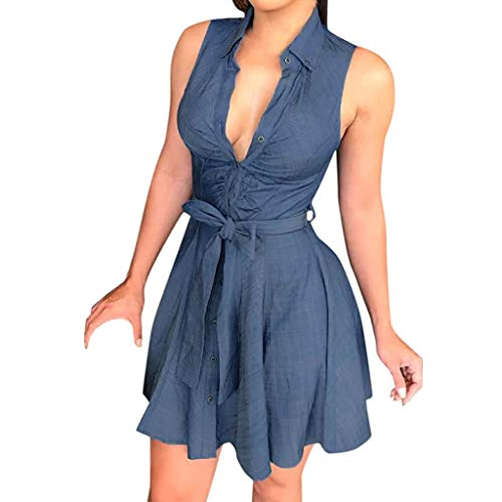 SakuraBest Women Solid Sleeveless Party Mini Dress with Waist Belt