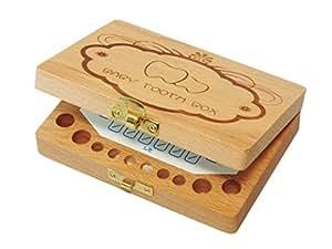 (BMC JAPAN) 乳歯ケース 乳歯入れ 木製 抜けた日シール2色セット(日本語表記) トゥースボックス