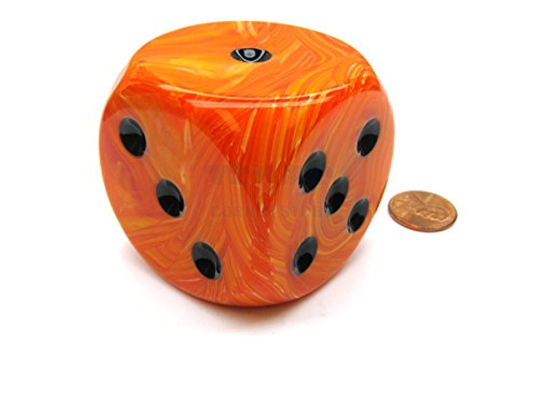 Orange Vortex With Black Pips 50mm (2in) D6 Die Chessex
