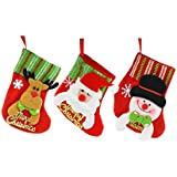XAJANUS クリスマスの靴下【クリスマスの鹿 雪だるま サンタクロース 3枚セット】クリスマス ソックス クリスマスツリー 飾り 壁掛け 玄関飾り ギフトバッグ