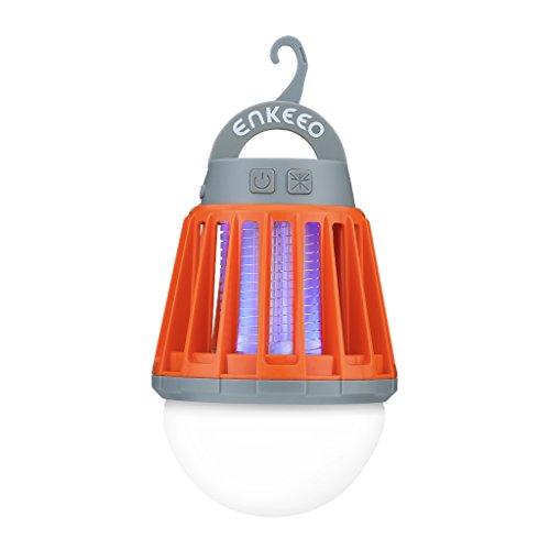 enkeeo 電撃殺虫器 UV光源誘引式 薬剤不要 赤ちゃんやペットにも安心 LEDランタン&誘虫灯 蚊取り&照明両用 2000mAh容量 USB充電式 IPX6完全防水 SB-6057【メーカー保証】(オレンジ)