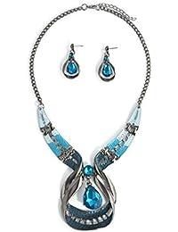 (ビグッド)Bigood レトロ レディース 瑠璃色?ジルコニア ネックレス&イヤリング セット ファッション アクセサリー 誕生日 プレゼント