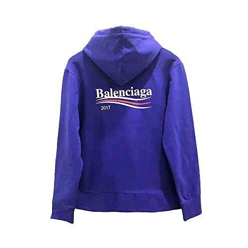 Balenciaga バレンシアガ パーカー メンズ レディース アウトドア 秋冬 スウェット (XL, 青) [並行輸入品]