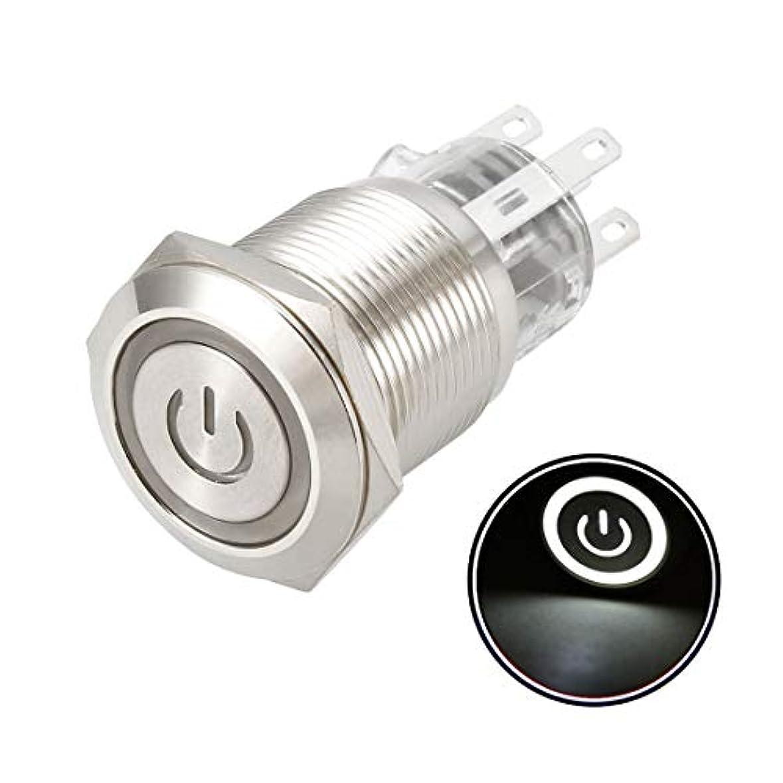 教育学嬉しいです離すuxcell メタルプッシュボタンスイッチ 取り付け径19 mm 1NO 1NC 24V LEDライト 1個入り ラッチング ホワイト-12V