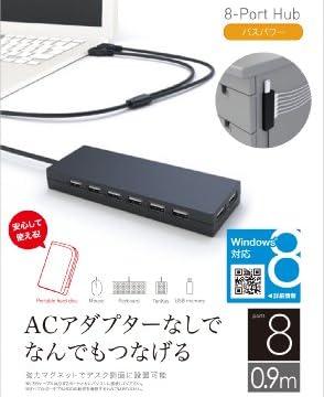 iBUFFALO USB2.0ハブ 8ポートタイプ Dualバスパワーモデル ブラック BSH8U01BK