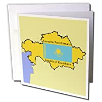777imagesフラグとマップ–Map and Flagカザフスタンのwith Republic of Kazakhstan Printedで英語とロシア語–グリーティングカード Individual Greeting Card